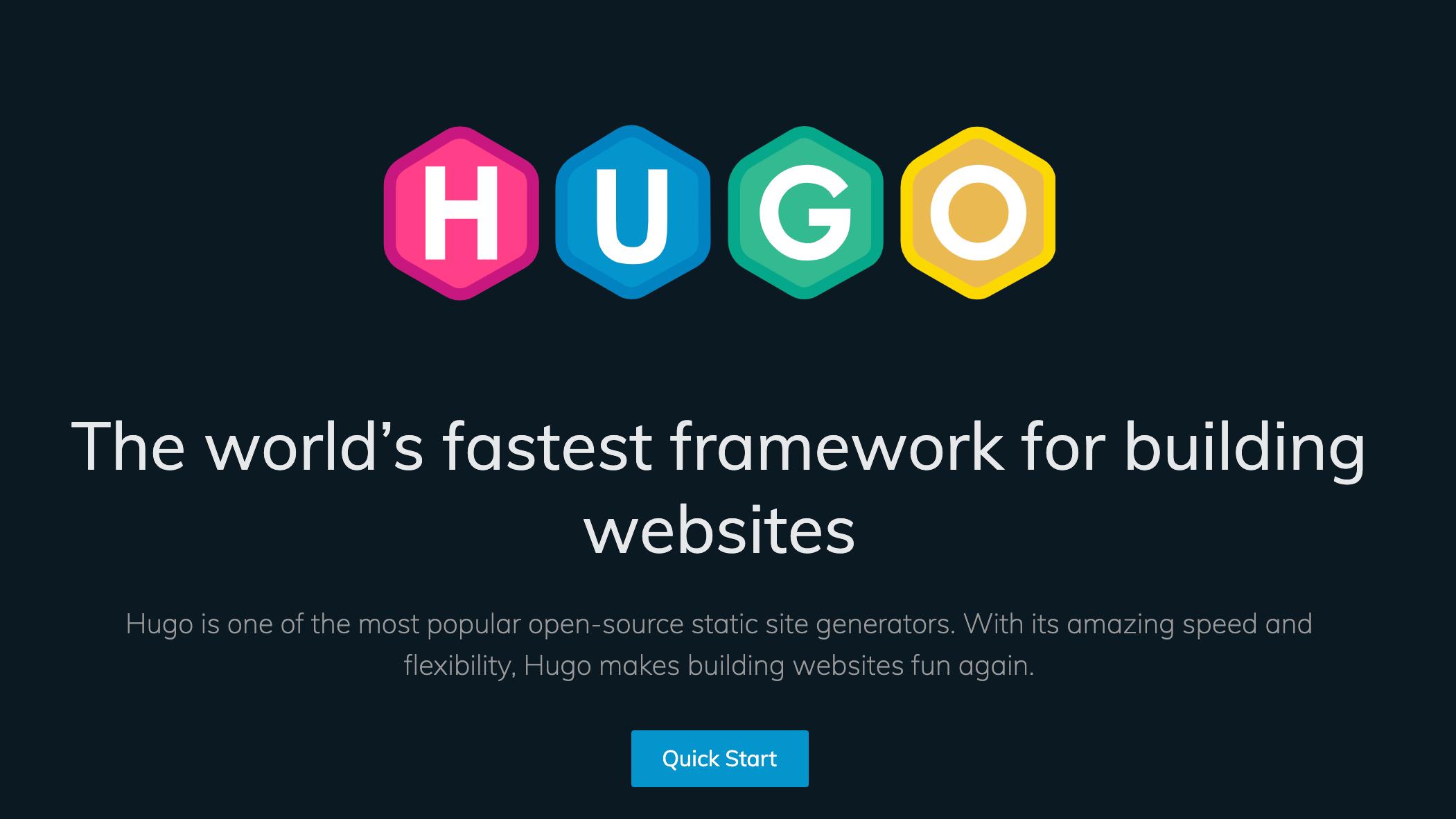 Image of the HUGO website